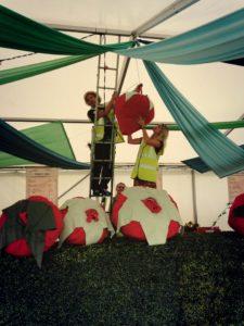setting up festival bar