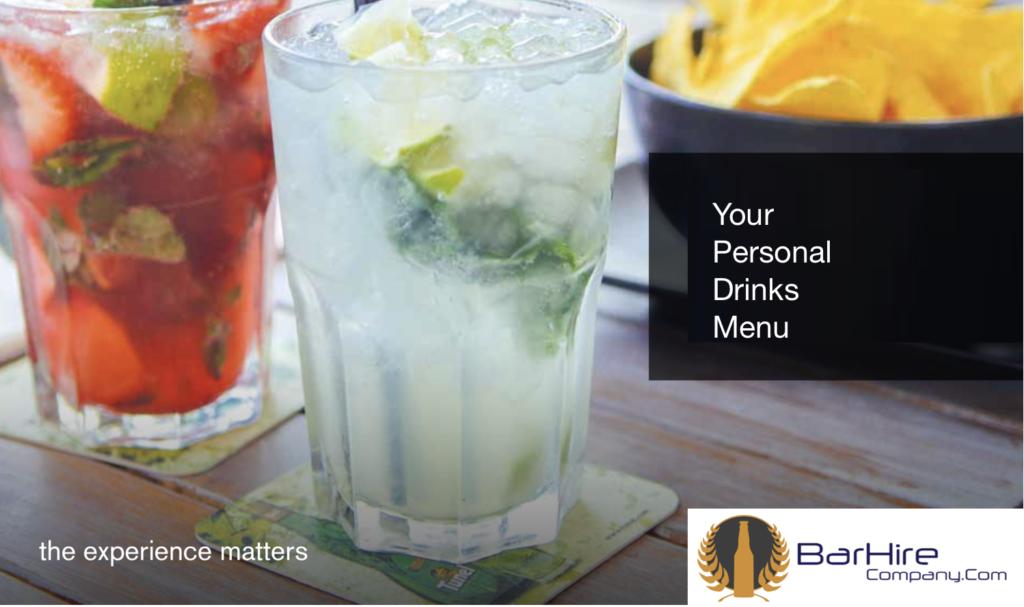 bespoke drinks menu for mobile bar hire