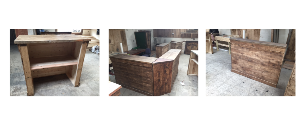 u shape wooden bar hire
